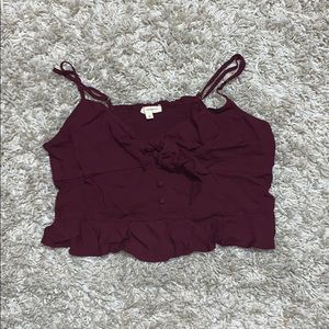 Maroon flowy tie button up crop